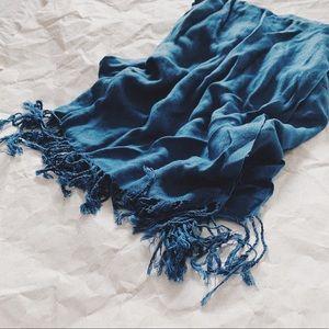Blue Scarf Scarves Fringe Tassel